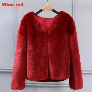 Women's Sized Medium Wine Red Faux Fur Coat 🍷